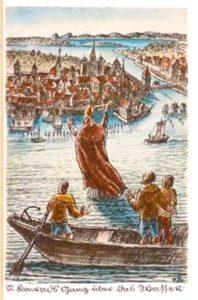 Bischof Konrad läuft bei Konstanz über den Bodensee